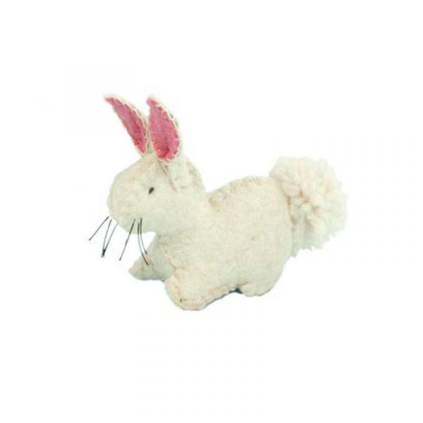 Coniglietto bianco in feltro Glückskäfer